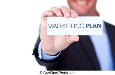 commercialisation, écrit, il, tenue, plan, étiquette, homme affaires