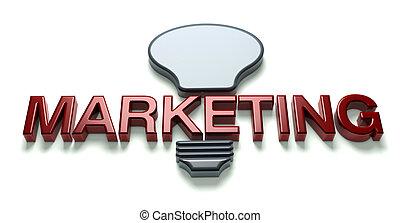 commercialisation, 3d, mot, idée, ampoule