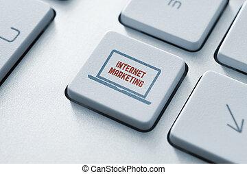 commercialisation, bouton, concept, internet