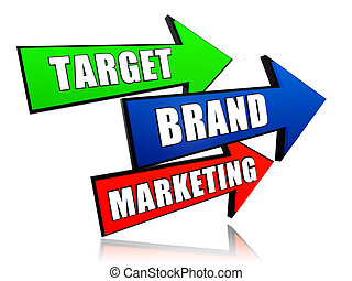 commercialisation, cible, flèches, marque