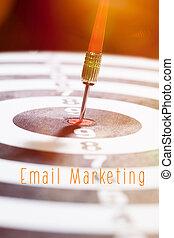commercialisation, concept, email, flèche, dards