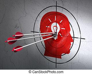 commercialisation, concept:, flèches, dans, tête, à, ampoule, cible, sur, mur, fond
