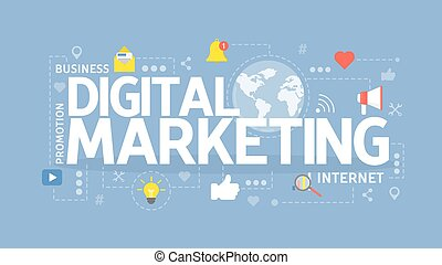 commercialisation, concept, illustration., numérique