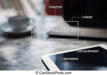 commercialisation, concept, screen., business, virtuel