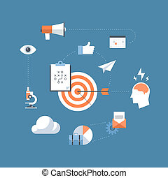 commercialisation, concept, stratégie, illustration, plat