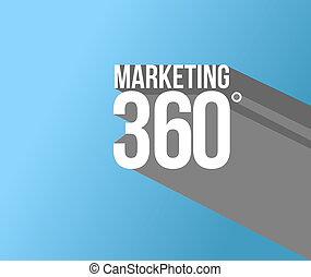 commercialisation, conception, 360, illustration, signe