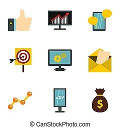 commercialisation, ensemble, business, icônes bureau