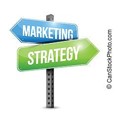 commercialisation, illustration, stratégie, conception, signe, route