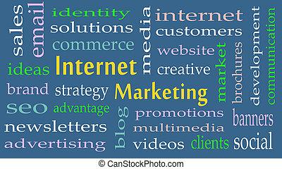 commercialisation internet, concept, mot, nuage, fond