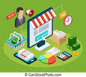 commercialisation, isométrique, concept, numérique