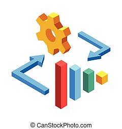 commercialisation, isométrique, gestion, illustration
