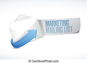commercialisation, liste, publipostage, illustration, email