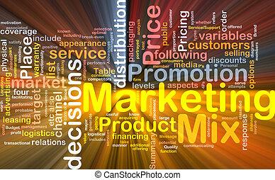 commercialisation, mélange, fond, concept, incandescent