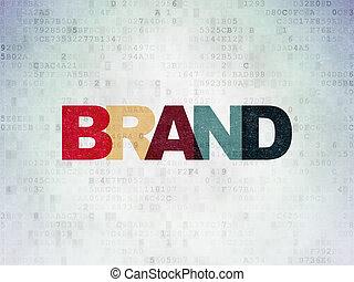 commercialisation, marque, papier, fond, numérique, données, concept: