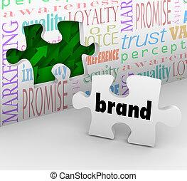 commercialisation, marque, puzzle, stratégie, réponse,...
