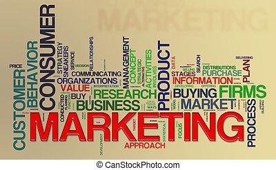 commercialisation, mot, étiquettes