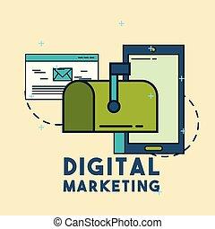 commercialisation, numérique, email, téléphone, boîte lettres