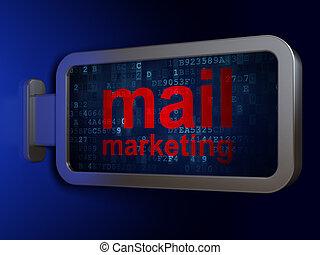commercialisation, publicité, fond, panneau affichage, courrier, concept: