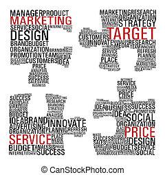 commercialisation, puzzle, communication., morceau