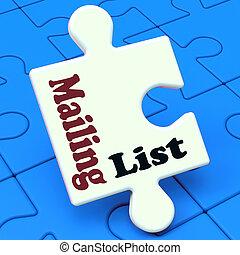 commercialisation, puzzle, liste, listes, ligne, ...