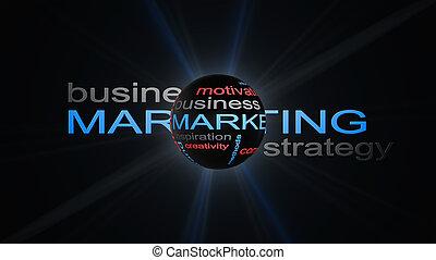 commercialisation, stratégie commerciale, mot, nuage, texte, concept