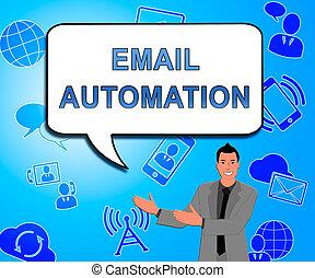 commercialisation, système, illustration, automation, 2d, numérique, email
