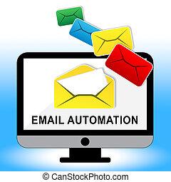 commercialisation, système, illustration, automation, numérique, email, 3d