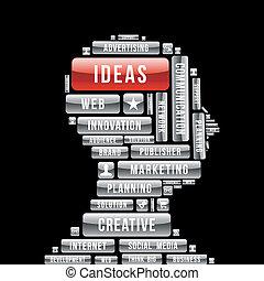 commercialisation, tête, idées, humain