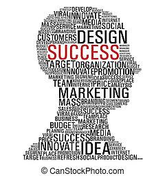 commercialisation, tête, reussite, communication