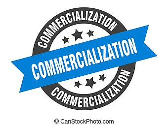 commercialization sign. round ribbon sticker. isolated tag