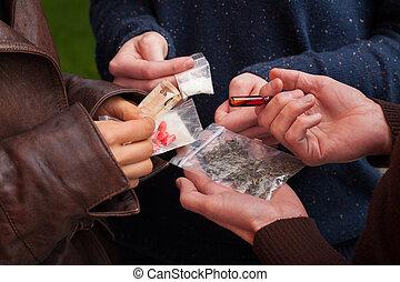 commerciante, droga, droghe, vendita