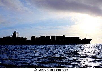 commerciante, nave, carico, in controluce, mare, sole