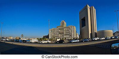 commercieel, centrum, van, jeddah, op, middag