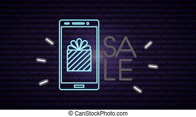 commercieel, etiket, neon ontsteken, smartphone
