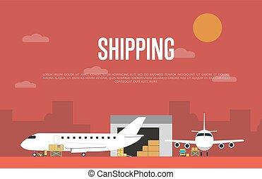 commercieel, spandoek, expeditie, dienst, lucht