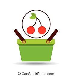 commercio, cesto, saporito, ciliegia