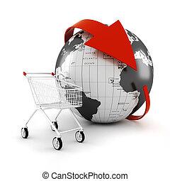 commercio, concetto, fare spese linea, carrello, 3d