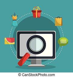 commercio elettronico, set, icone