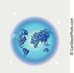 commercio mondiale, web, rete, collegamento