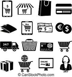 commercio, set, e, icone