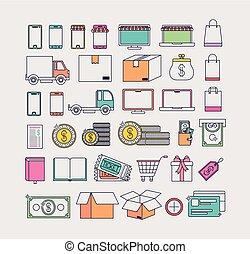 commercio, set, elettronico, icone