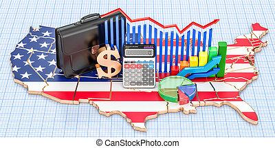 commercio, unito, finanza, concetto, affari, stati, interpretazione, 3d