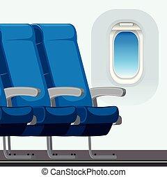 commerical, intérieur, avion, scène