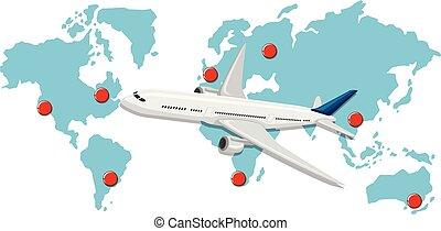 commerical, mappa, aereo, infront, mondo