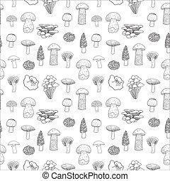 commestibile, modello, seamless, funghi, vettore, tuo, design.