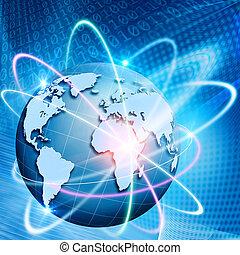 comminications., tecnologia, abstratos, fundos, órbita