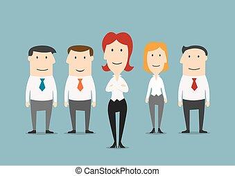 commis, équipe, bureau, business, patron
