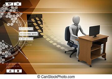 commis, bureau, fonctionnement, 3d
