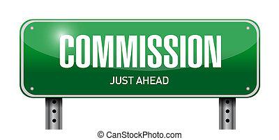 commissie, ontwerp, straat, illustratie, meldingsbord
