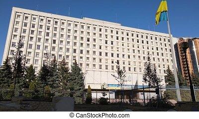 commission, aerial., mouvement, bâtiment, lent, kyiv., ...